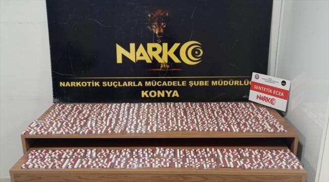 Konya'da 2 bin 545 sentetik ecza hap ele geçirildi, 2 zanlı gözaltına alındı